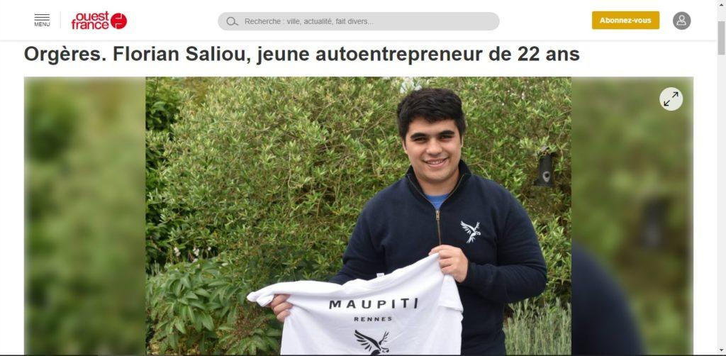 Florian Saliou sur Ouest France pour Maupiti